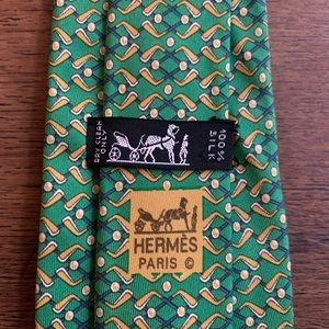 "Hermes ""Golf-Themed"" Green & Gold Silk Tie"